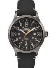 Timex TW4B01900 Mężczyźni wyprawa analogowy podwyższone czarny skórzany pasek zegarka