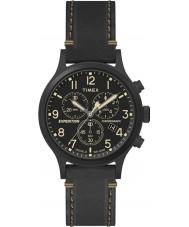 Timex TW4B09100 Mężczyźni wyprawa czarny skórzany pasek zegarka