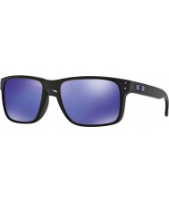 Oakley Oo9102-26 Holbrook Julian Wilson czarny matowy - iryd fioletowe okulary