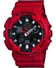 Casio GA-100B-4AER Mężczyźni g-shock czas światowy czerwona żywica pasek zegarka