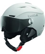 Bolle 31255 Backline daszek miękkich biały i srebrny kask narciarski z szarym daszkiem - 56-58cm