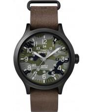Timex TW4B06600 Mens scout brązowy skórzany pasek zegarka
