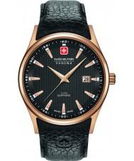 Swiss Military 6-4286-09-007 Męska navalus czarny skórzany pasek do zegarka