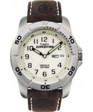 Timex T46681 Mężczyzna biały brązowy wyprawy tradycyjny zegarek